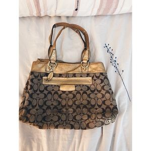 Used Gold Detailed Coach Purse